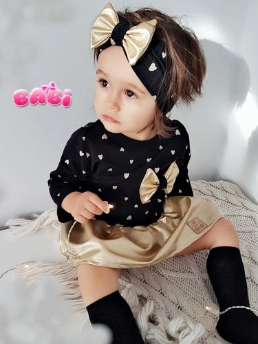 0526ab1757e6 Sukienka złote serduszka na czarnym Gold Opaski-Babi
